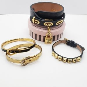 4 Juicy Couture Black & Gold  Leather Bracelets